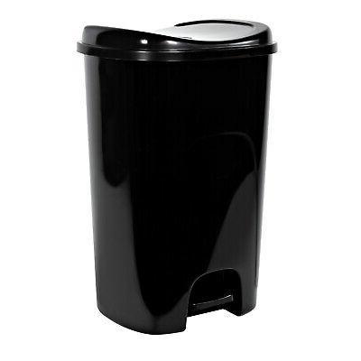 Hefty Step-On 13-Gallon Trash Can, Black
