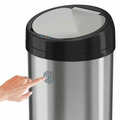 iTouchless 13 Touchless Trash Steel Round Extra-Wide
