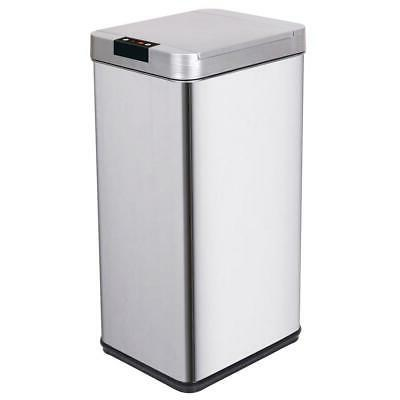 13 Gallon Rectangular Trash Can Sensor Stainless Steel Kitch