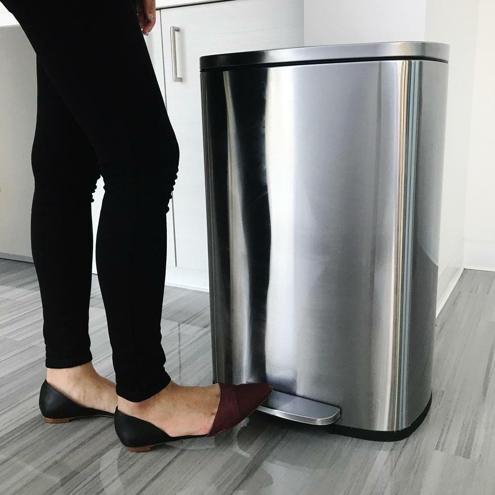 13 gallon tall garbage can stainless steel