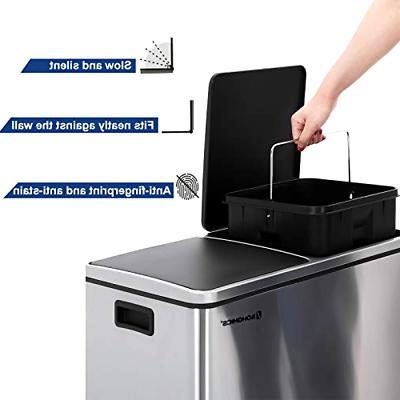 16 Can Double Recycle Bin 2x30L Bin Stainless Steel