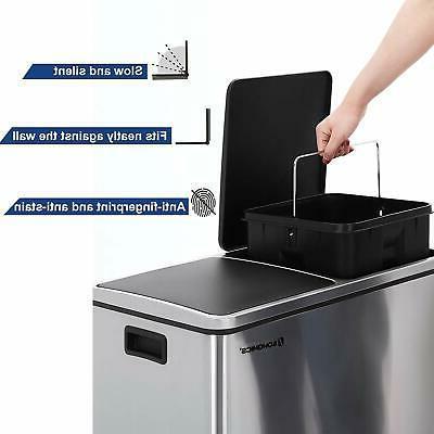 SONGMICS Step Trash Double Pedal Bin, 2 30L Garbage