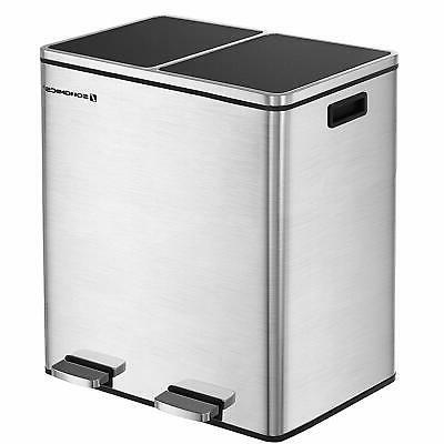 16 gallon step trash can double recycle
