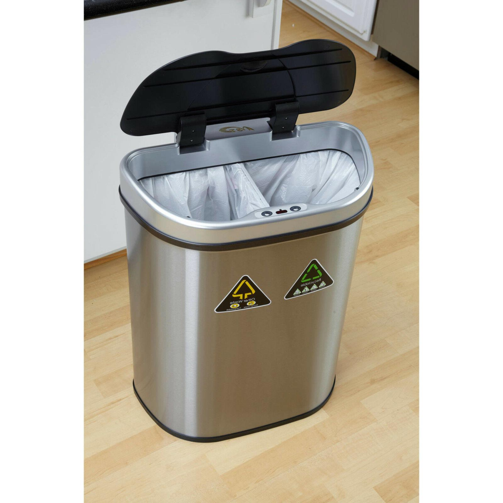 Nine Stars Sensor Recycle Trash Can, Steel