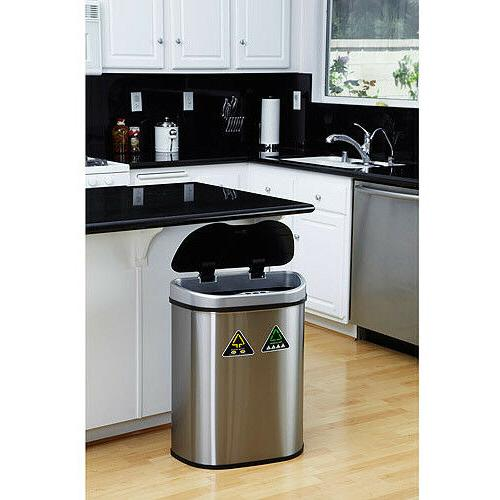 Nine 18.5-Gallon Sensor Recycle Unit Trash Can, Stainless Steel