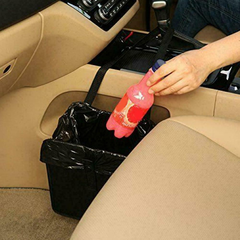 1x Portable Car Trash Can Garbage Bin Bags Organizer For Veh