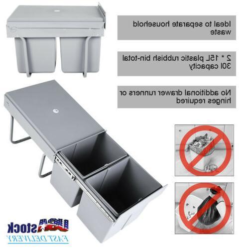 2 15l kitchen under cabinet trash waste