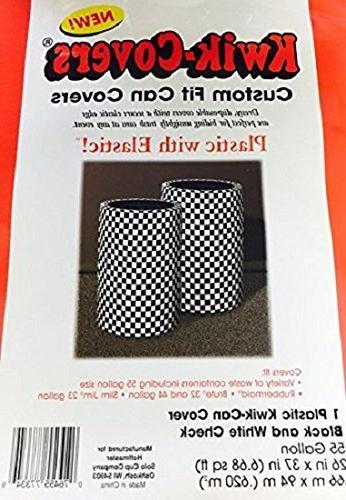 2 Black White Checker Kwik-Covers 55 Gallon Custom Can Cover