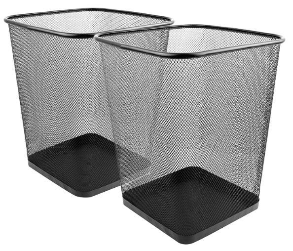 2x mesh wastebasket trash can square black