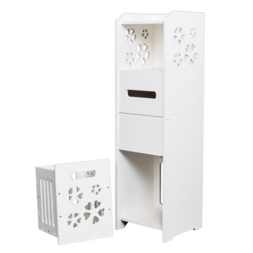 3-Tier Bathroom Cabinet Rack Free Standing Shelf Organizer W/Garbage
