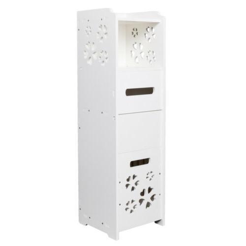 3-Tier Bathroom Rack Free Standing Shelf Organizer W/Garbage
