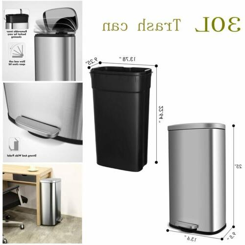 30l stainless steel trash can with lid