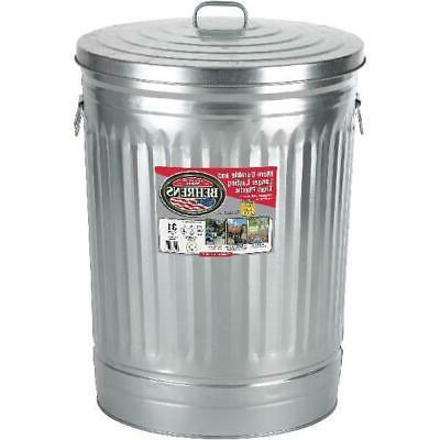 31 gal galvanized steel round trash can