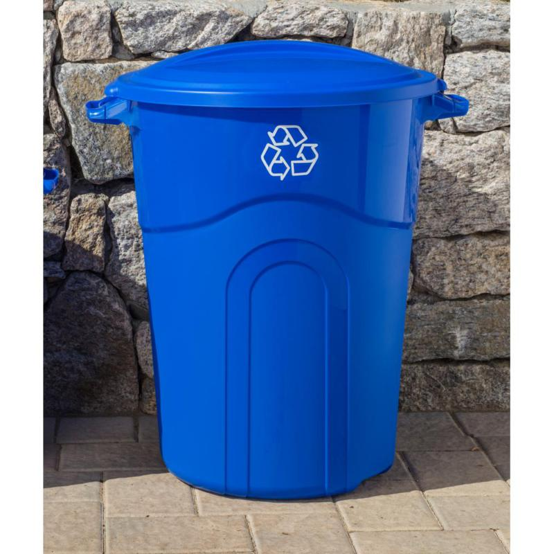 32 gal outdoor recycling bin garbage trash