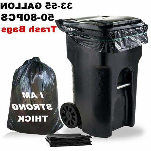 33/55 Gallon Trash Can Bags Thick Black Large Heavy Duty Gar