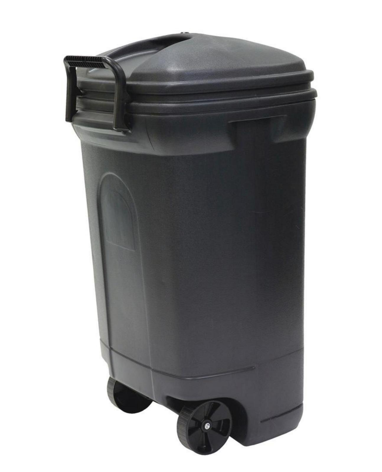 34 gal plastic wheeled black outdoor trash