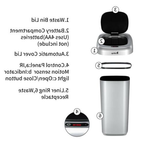 35L Touchless Infrared Motion Sensor Garbage Bin
