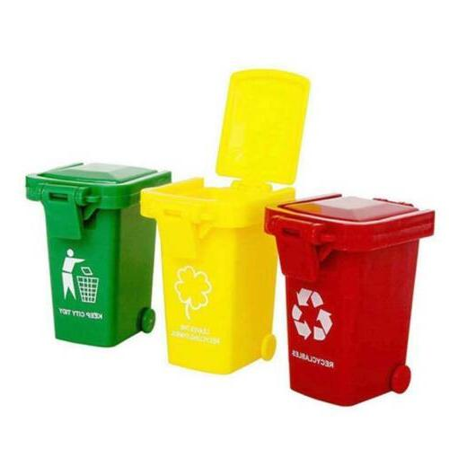 3 Color Cute Mini Trash Can Bin Toy Garbage Truck Curbside T