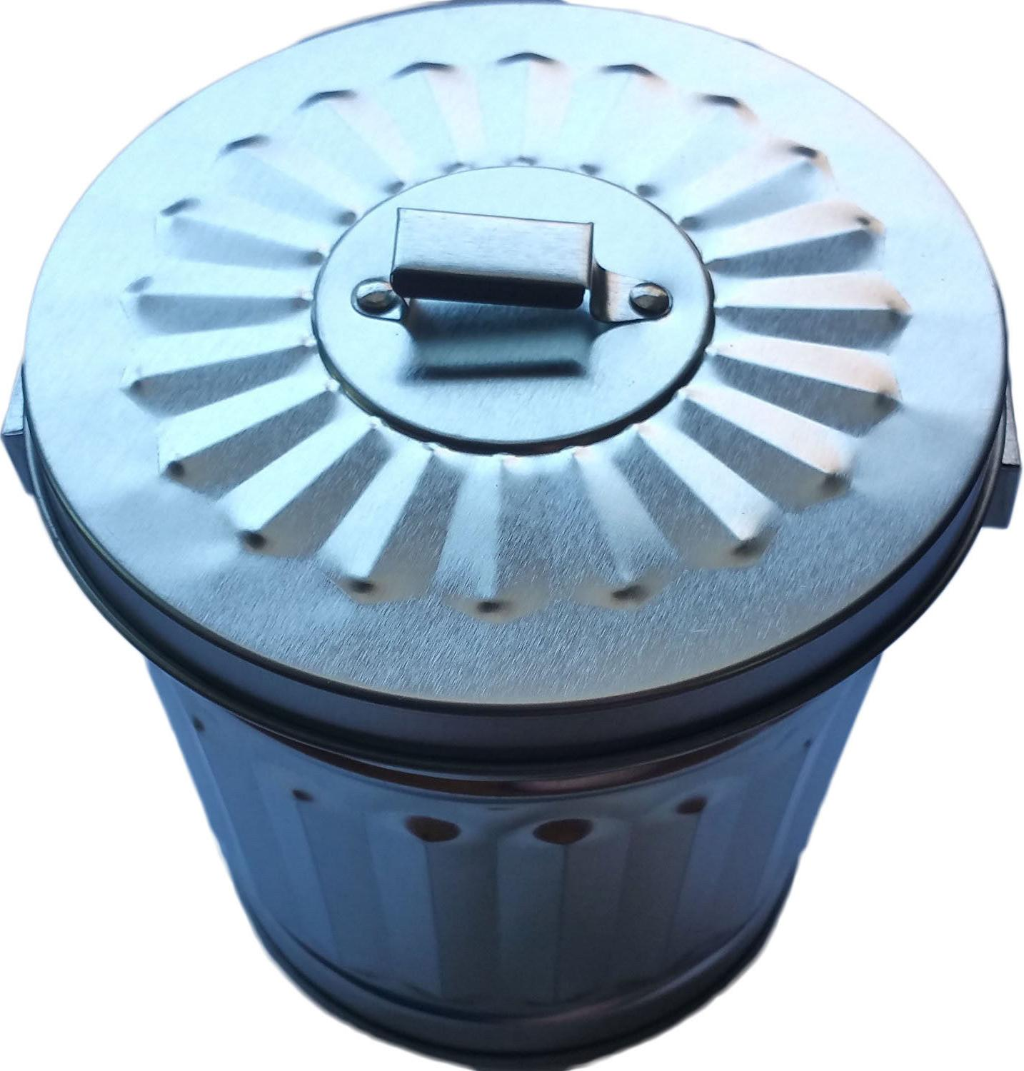 "4"" Miniature Tin Trash / Garbage with cap"