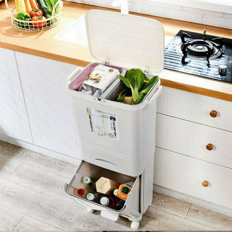 11.1 Rubbish Bin Kitchen Double Trash Can Wheels