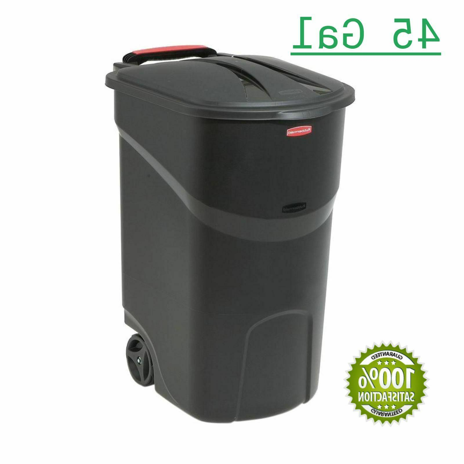 45 gal large rolling outdoor trash can