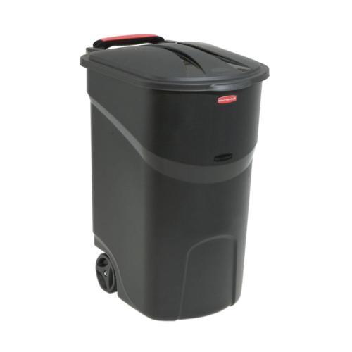 45 gal black wheeled trash can garbage