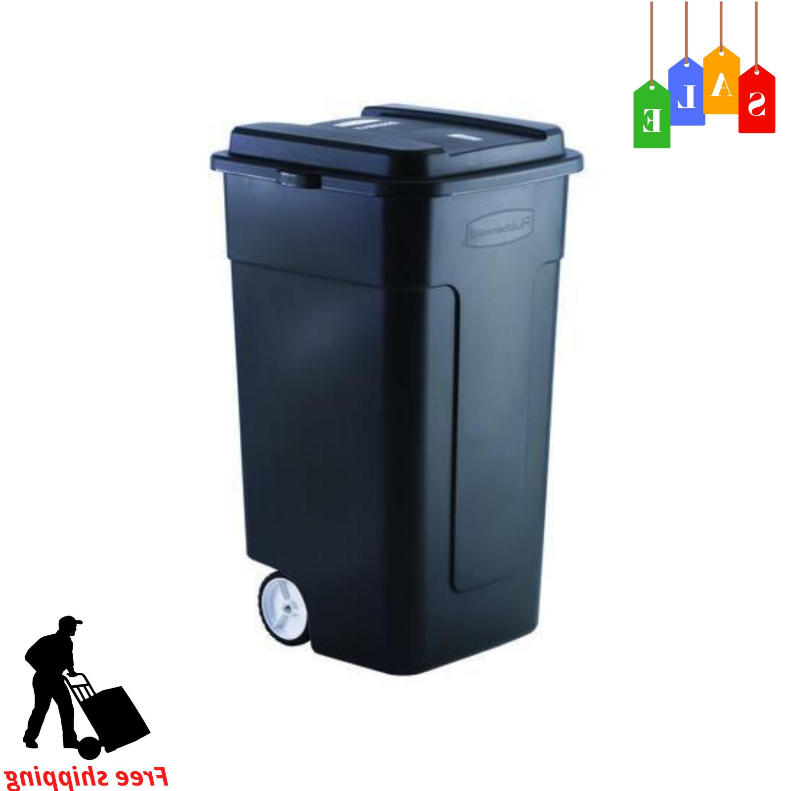Rubbermaid 50 Gallon Trash Can With Lid Wheeled Outdoor Garb