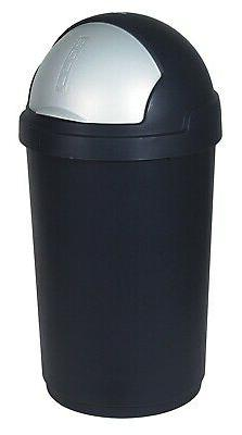 Curver 50 Litre Roll-Top Garbage Can, Black/Silver, 35 x 25