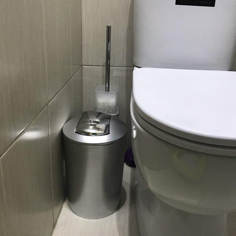 6.5L Bathroom Style Wastebin With Lid Kitchen Storage Tools <font><b>Garbage</b></font> Bin