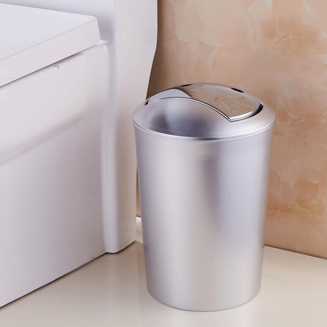 6.5L Bathroom Style Wastebin With Lid Storage Tools Waste Bin