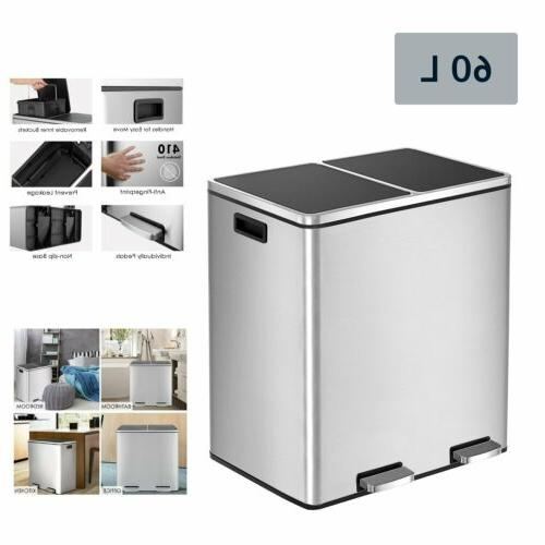 60 l trash can brushed stainless steel
