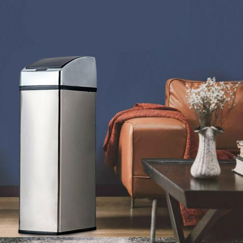 6L Trash can Automatic Touch Free Sensor Garbage Bin Stainle