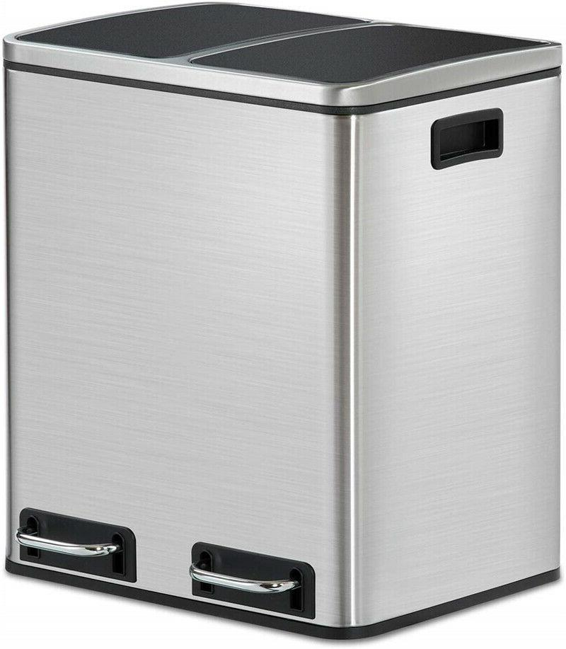 8 Gallon Stainless Steel Step Trash Can Garbage Bin 2x4 Gall