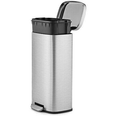 8 Gallon Kitchen Step Trash Can Garbage Can Stainless Steel