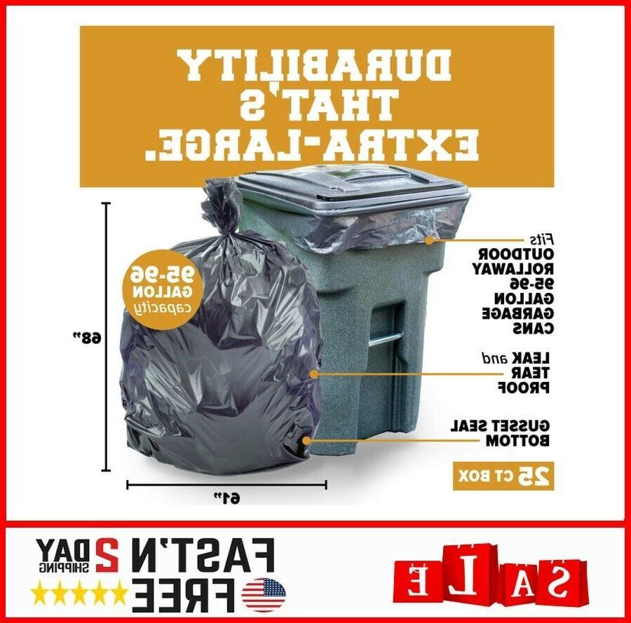 Plasticplace 95-96 Gallon Can Liners │1.5 │ Black Duty Trash B