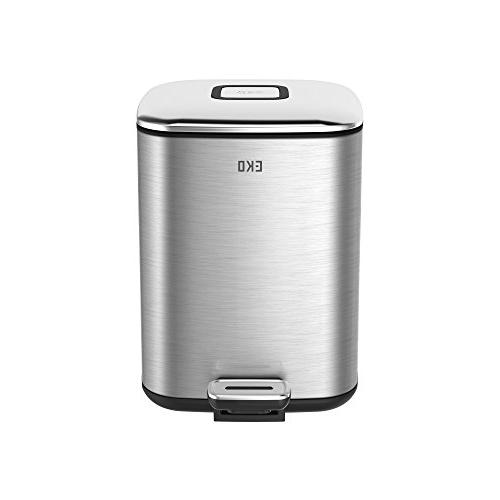 EKO Small Square Metal Step Trash Can with Lid, 6 Liter, Sta