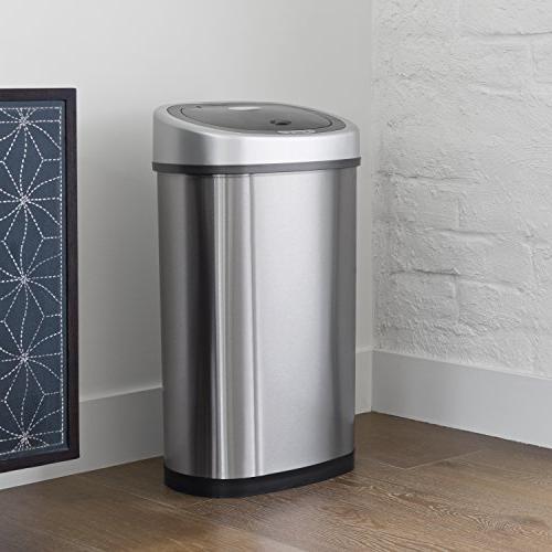 NINESTARS Infrared Sensor Trash Can, Stainless