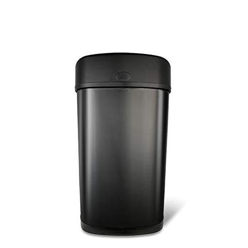 NINESTARS DZT-50-9BK Infrared Trash Can, Gal 50L, Black Steel