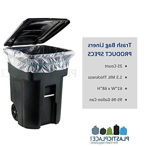 """Plasticplace Gallon Can Liners │ MIL │ Clear Duty │ 61"""" 68"""""""