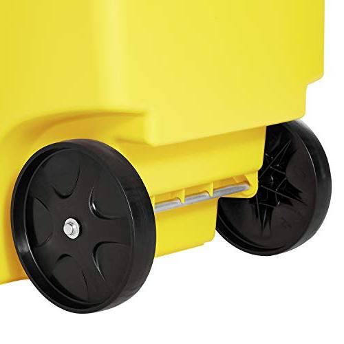Rubbermaid Products Rollout Waste/Utility Container, Yellow