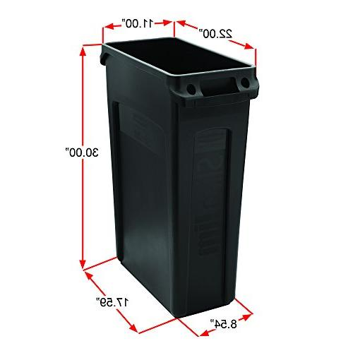 Rubbermaid Receptacle with Venting Channels, Rectangular, Plastic, 23 Black