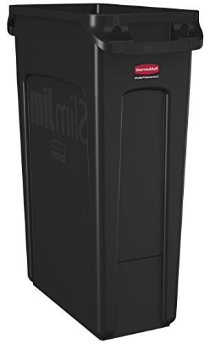 Rubbermaid Commercial Slim Receptacle with Venting Rectangular, 23 Gallons, Black