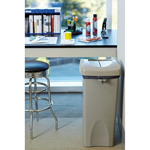Rubbermaid Commercial Untouchable Trash Can Combo, Rectangular, Beige, FG792020BEIG