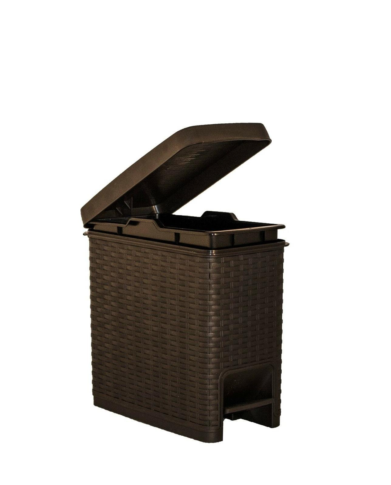 Superio Slim Trash Can Rattan Style 6.5 Qt.- Brown