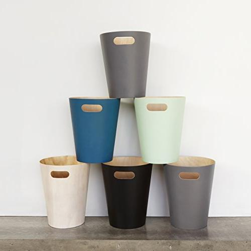 Umbra Woodrow 2 Gallon Modern Wooden Trash Can Wastebasket or Recycling Bin