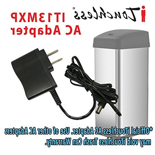 iTouchless Official AC Power Adapter 13 Gallon Steel Automatic Trash Can Odor Control Opening Sensor