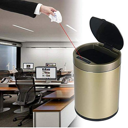 Starnearby 6L Touchless Sensor Waste Can, Gold Stainless