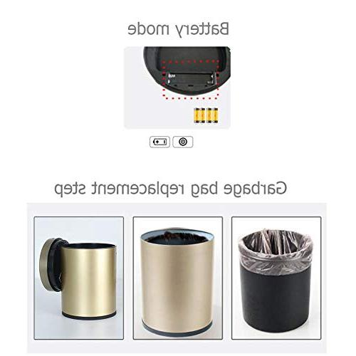Starnearby Touchless Trash Container, Garbage Can, Stainless Steel