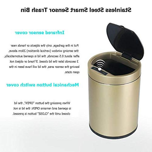 Starnearby 6L Trash Garbage Can, Gold