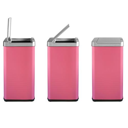 BestOffice 13 Gallon can Sensor Touch Garbage Bin Stainless Steel